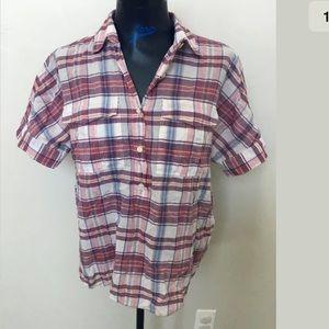 J crew short sleeve plaid shirt